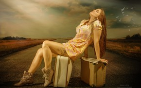 Picture road, girl, pose, hair, tattoo, legs, suitcases
