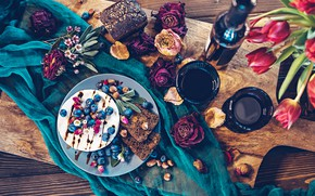 Picture berries, wine, red, cheese, blueberries, bread, nuts, buds, Camembert, roses