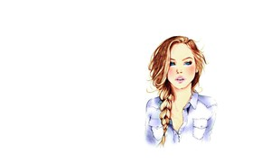 Wallpaper girl, Art, long hair, minimalism, blue eyes, braid, face, redhead, artwork, shirt, mouth, white background, ...