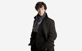 Picture white background, coat, Benedict Cumberbatch, Sherlock, Sherlock BBC, Sherlock Holmes, detective, Sherlock (TV series)