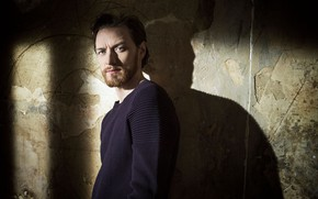 Picture look, wall, shadow, male, sweater, James McAvoy
