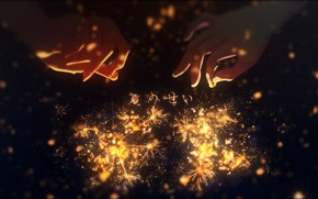 Picture hands, bokeh, sparklers