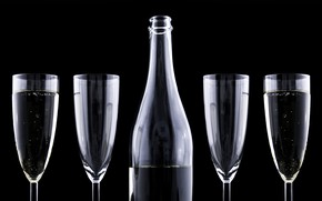 Picture celebration, bottle, winecups, glass ware