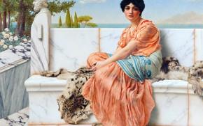 Picture Girl, Look, Picture, John William Godward, John William Godward, Мечтательность (Во времена Сафо), Английский художник-неоклассицист