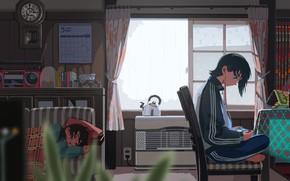 Picture room, sofa, boy, kitchen, sleeping, girl, sitting
