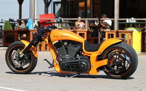 Picture Harley Davidson, Yellow, Harley-Davidson, Motorcycle, Thunderbike, Custom bike, RS Lambo, By Thunderbike