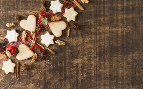 Picture decoration, New Year, cookies, Christmas, Christmas, wood, New Year, cookies, decoration, Merry, fir tree, fir-tree …