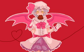 Picture pink background, remilia scarlet, yellow eyes, vampire, valentine`s day, evil eye, project East, bat wings, …