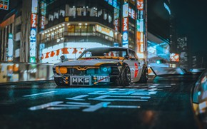 Picture Mustang, The city, Japan, Retro, Machine, Tuning, City, Car, Ford Mustang, Night, Rendering, Concept Art, …