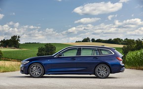 Picture BMW, side view, 3-series, universal, dark blue, 3P, 2020, G21, 330d xDrive Touring