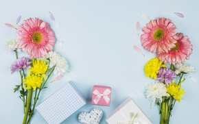 Picture flowers, gifts, heart, congratulations, bouquets, Mother's day