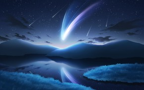 Picture the sky, water, mountains, nature, fantasy, comet, shooting stars