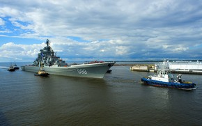 Picture cruiser, atomic, rocket, tugs, Peter The Great, mooring