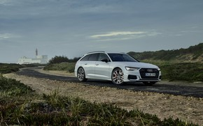 Picture white, Audi, hybrid, universal, on the road, Audi A6, 2020, A6, A6 Avant, 55 TFSI …