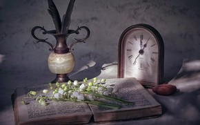 Picture flowers, watch, book