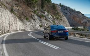 Picture road, mountains, markup, vegetation, Jaguar, slope, back, sedan, Jaguar XF, 2020, XF