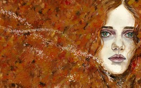Picture autumn, look, girl, abstraction, face, strokes