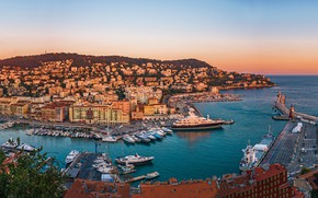Picture sunset, rock, France, building, home, yachts, panorama, France, harbour, Nice, Nice, Port Lympia, Порт Лимпиа