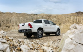 Picture white, stones, Toyota, pickup, Hilux, Special Edition, 2019, ground clearance