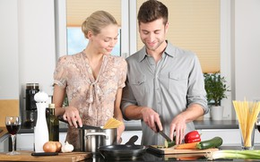 Picture girl, kitchen, male, lovers, cook