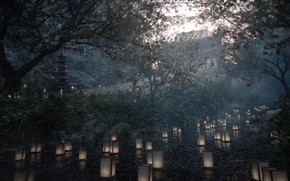 Picture trees, river, pagoda, lanterns