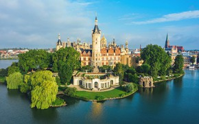Picture river, castle, Germany, Schwerin, Schwerin Castle