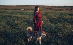 Picture girl, dog, dress, meadow, Rome Rome