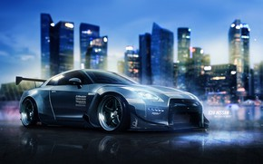 Picture Auto, The city, Machine, Nissan, Art, R35, Nissan GT-R, Sports car, Blind Sarathonux, Need For …