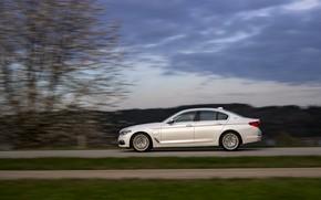 Picture white, movement, BMW, profile, sedan, hybrid, 5, four-door, 2017, 5-series, G30, 530e iPerformance