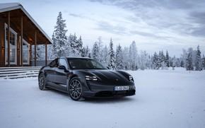 Picture snow, black, Porsche, hut, 2020, Taycan, Taycan 4S
