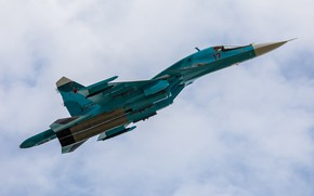 Wallpaper fighter-bomber, Su-34, multifunction, Videoconferencing Russia