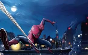 Picture the sky, night, the city, lights, fiction, the moon, home, web, art, costume, superhero, comic, …