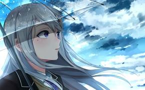 Picture girl, clouds, rain, umbrella