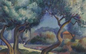 Picture landscape, picture, Kenneth Miller Adams, Kenneth Miller Adams, Figures on the Way Home