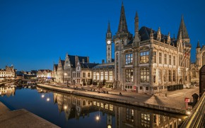 Picture lights, the evening, Belgium, water channel, Ghent