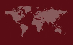 Picture earth, the world, continents, world map, red background, continents