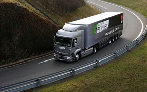 Picture road, grass, grey, the fence, truck, Renault, tractor, 4x2, the trailer, Premium Route, Renault Trucks