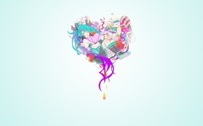 Picture background, heart, girl, Vocaloid, Hatsune Miku