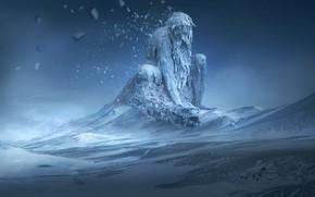 Picture ice, fantasy, winter, snow, digital art, artwork, fantasy art, creature, turtle, Giant