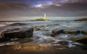 Picture sea, landscape, clouds, nature, stones, lighthouse