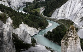 Picture road, trees, mountains, river, Ruinaulta