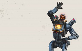 Picture fantasy, game, robot, minimalism, sci-fi, Pathfinder, digital art, futuristic, simple background, saluting, emoticons, Apex Legends