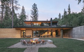 Picture house, architecture, hearth, terrace, by Anacapa, outside-inside house, AutoCamp Yosemite