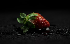 Picture drops, strawberry, berry, black background, red, Victoria