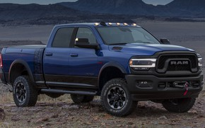 Picture machine, desert, lights, Dodge, Dodge, side, blue, pickup, blue, wheel, Hemi, Power Wagon, Dodge Ram, …