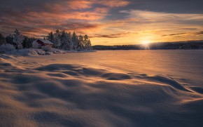 Picture winter, the sky, the sun, rays, dawn, Norway, Norway, neg, Ringerike