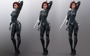Picture girl, art, red, armor, armor, redhead, digital art, suit, suite, Shin JeongHo, artstation