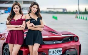 Picture look, girls, dress, car, Asian girls