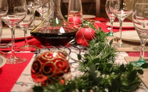 Picture winter, balls, holiday, glasses, Christmas, New year, needles, Christmas decorations, Christmas decorations, festive table, новогодние …