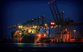 Picture Port, Night, The ship, Technique, A container ship, Cranes, Zaton, Container terminal, Cargo operations